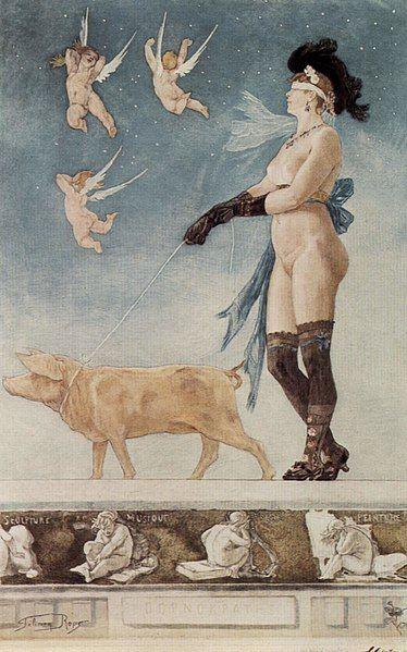 Artystyczna wizja pornokracji według belgijskiego malarza Féliciena Ropsa