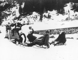Profesorowie lwowscy podczas kuligu w Zakopanem, Źródło: Narodowe Archiwum Cyfrowe