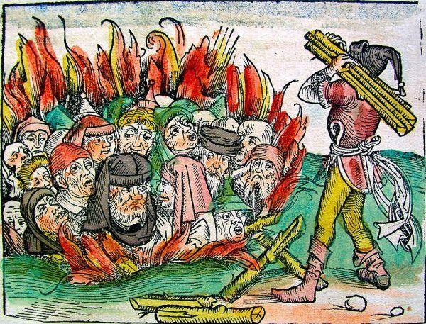 Palenie żywcem Żydów, oskarżanych o szerzenie zarazy.