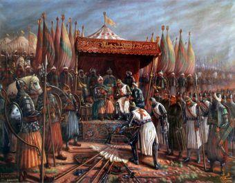 Współczesne wyobrażenie kapitulacji Gwidona de Lusignan przed Saladynem.