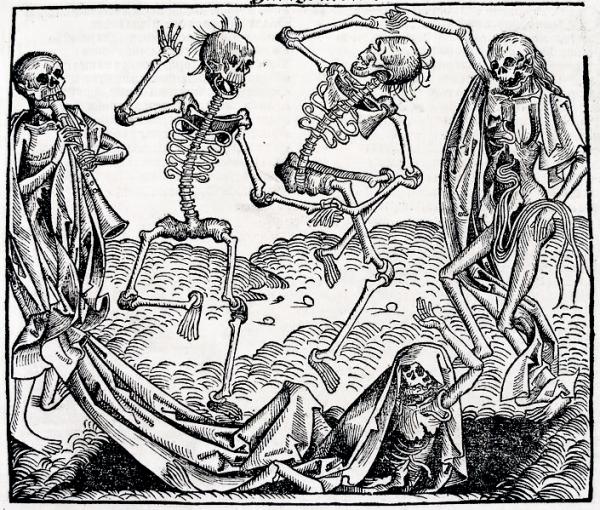 Taniec śmierci inspirowany zarazą.