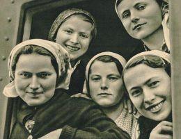 Niemiecki plakat propagandowy namawiający Polki do wyjazdu do pracy w Rzeszy