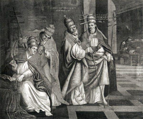 Czterech papieży: Innocenty VI, Klemens VIII, Klemens VI i Urban V.