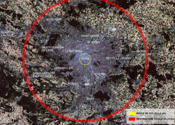 Satelitarne zdjęcie Paryża, na którym pokazano skutki ewentualnego zdetonowania Car-bomby nad miastem