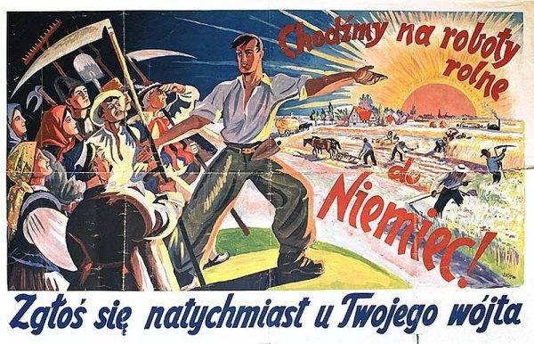 Niemiecki plakat propagandowy z punktu werbunkowego przy ulicy Nowy Świat w Warszawie