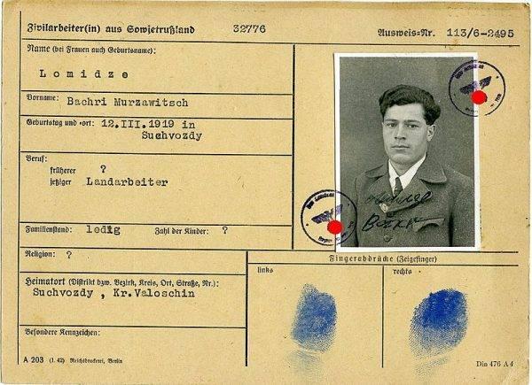 Dokumenty robotnika przymusowego z ZSRR