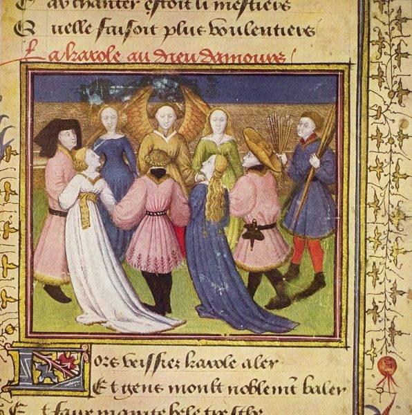 Ilustracja ze średniowiecznego rękopisu Powieści o Róży