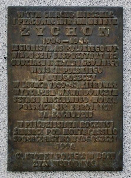 Tablica poświęcona Janowi Żychoniowi w Bydgoszczy
