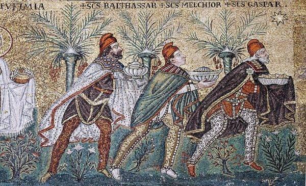 Mozaika bizantyjska przedstawiająca trzech magów