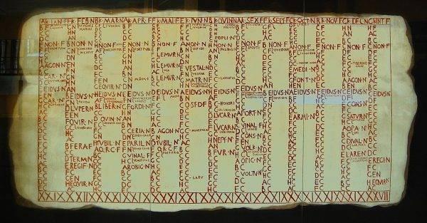 Reprodukcja rzymskiego kalendarza Fasti Antiates sprzed reformy Cezara