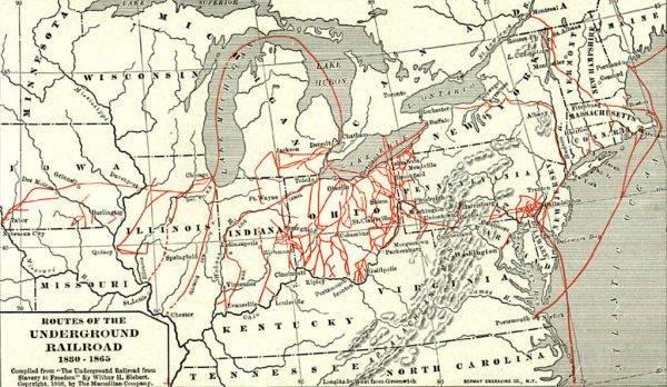 Mapa szlaków umownej kolei podziemnej.