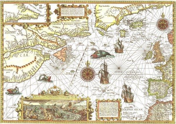 Na 512 mapach zamieszczonych w tej niezwykłej książce ukazane są dzieje świata od początków ludzkości po XXI wiek – w precyzyjnej, graficznej formie (na il. mapa Nowej Francji autorstwa Petera Planciusa)