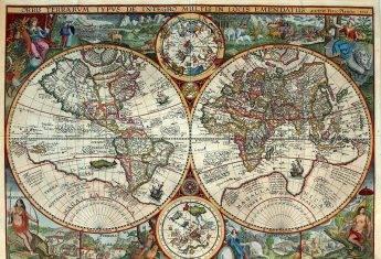 XVI-wieczna mapa świata według Petrusa Planciusa