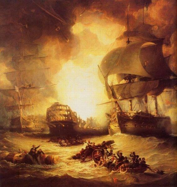 """Brytyjski marynarz John Nicol pisał o tym, że podczas bitwy morskiej pod Abukirem w sierpniu 1798 roku kobiety obecne na fregacie """"Goliath"""" pomagały chłopcom okrętowym nosić proch do dział"""