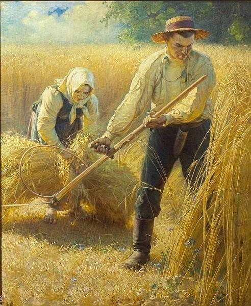 Żniwa, obraz pędzla Adama Ciemniewskiego.