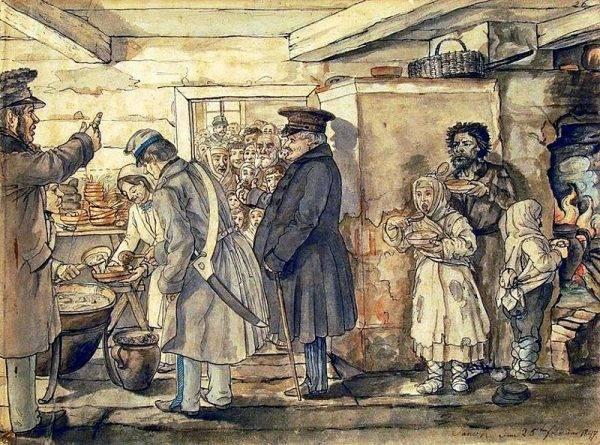 Z biegiem lat sytuacja wcale się nie poprawiała. Na il. rozdawanie posiłków najuboższym w połowie XIX wieku.