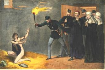 Litografia przedstawiająca odkrycie Barbary Ubryk w Klasztorze Sióstr Karmelitanek Bosych w Krakowie i oswobodzenie jej w dniu 21 lipca 1869 roku.