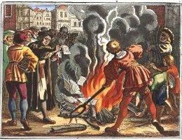 Spalenie przez Lutra ekskomunikującej go bulli papieskiej.