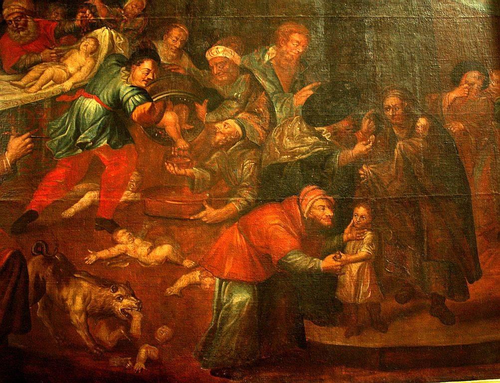 Obraz Mord rytualny przedstawiający rzekomy mord rytualny z katedry w Sandomierzu autorstwa Karola de Prevot (XVIII w.)