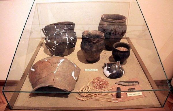 Naczynia kultury pucharów lejkowych znalezione w Pełczyskach, eksponowane w Pałacu Wielopolskich w Chrobrzu.