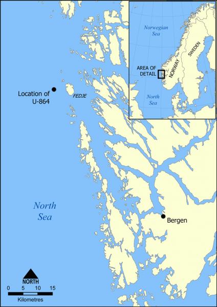 Lokalizacja wraku U-864