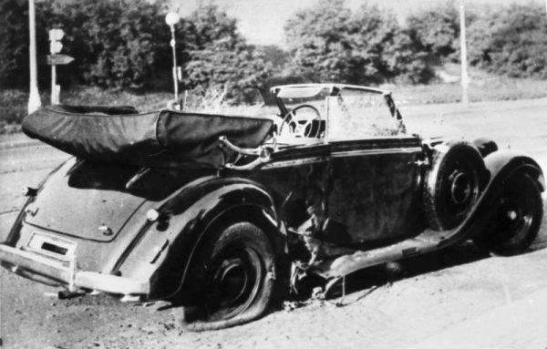 Samochód Heydricha po zamachu