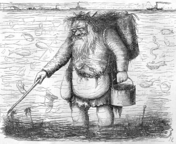 Dirty father Thames (z ang. Brudny ojciec Tamiza), rysunek satyryczny