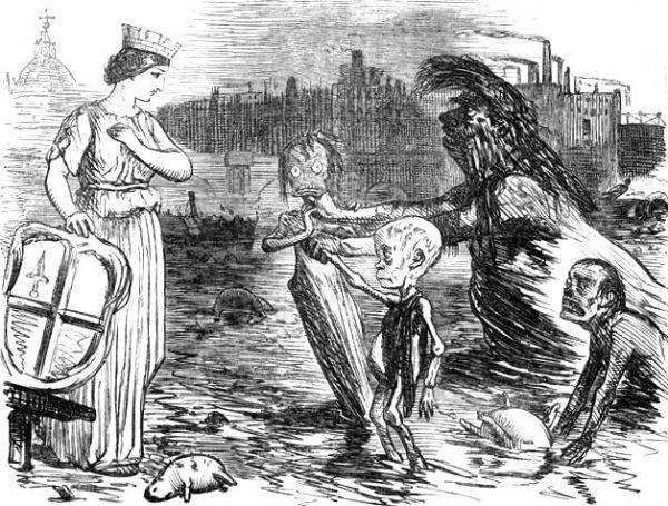 Karykatura przedstawiająca personifikację Tamizy prezentującą miastu Londyn swoje dzieci – błonicę, gruźlicę i cholerę.