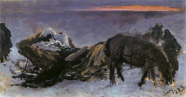 Gertruda Komorowska na saniach, obraz Leona Wyczółkowskiego z 1883 roku
