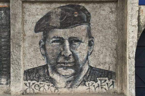 Mural przedstawiający Željko Ražnatovića Arkana.