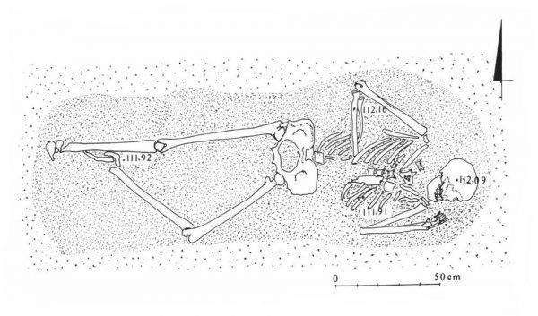 Szkielet mierzył 208 cm i był ułożony niedbale, co raczej jest anomalią przy pochówkach z tamtego okresu.