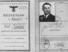 Dokument podróży dla Karla Čurdy na fałszywe nazwisko Karl Jerhot.