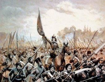 Emilia Plater na czele kosynierów w 1831 roku