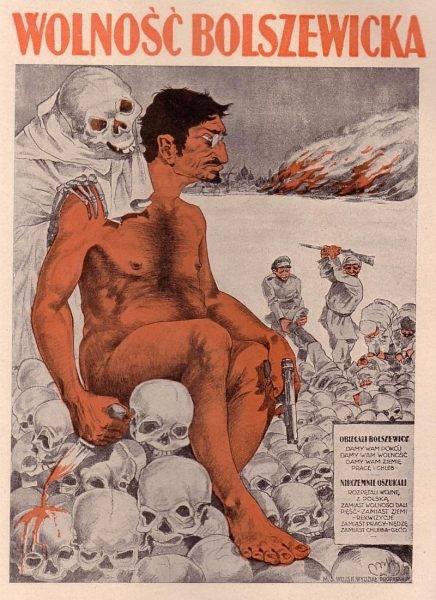 Wizerunek Trockiego na polskim plakacie propagandowym z lipca 1920