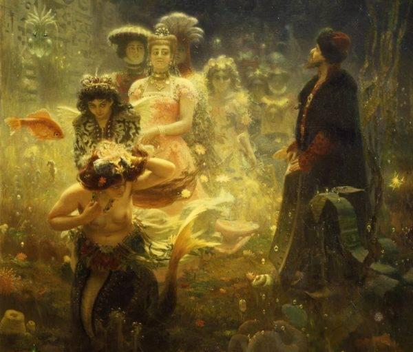 W mitologii słowiańskiej znany jest też opis powstania ludzkiego świata (Ziemi) z wody – pierwotnego oceanu.
