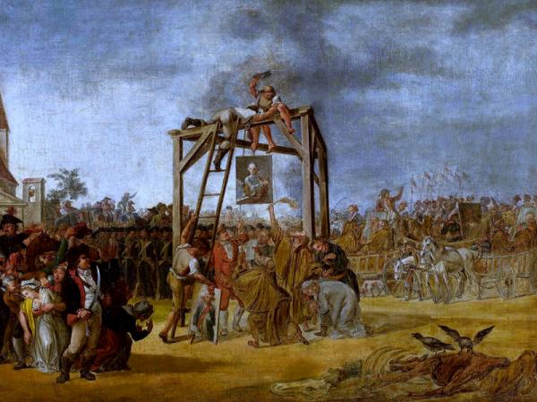 Obraz przedstawiający symboliczne wieszanie targowiczan in effigie