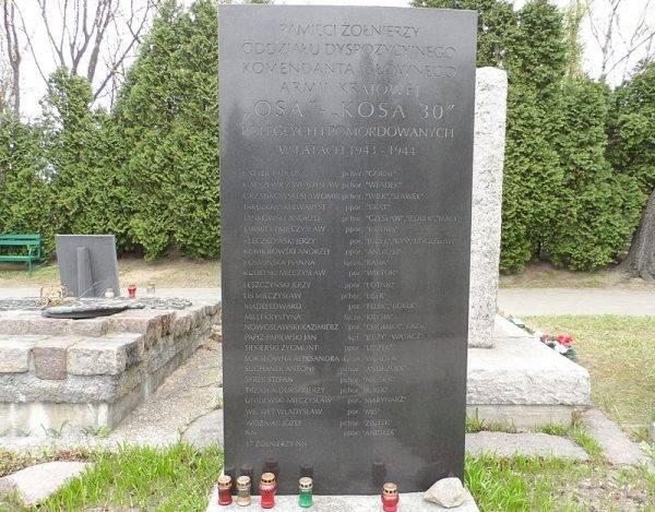 Tablica na wojskowych Powązkach upamiętniająca poległych i pomordowanych żołnierzy OSY – KOSY 30.
