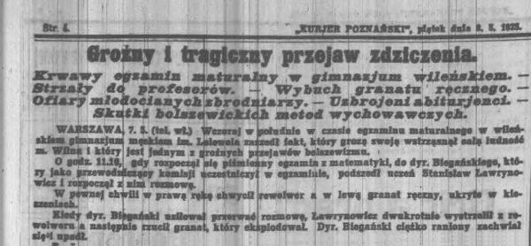 """Informacja z gazety """"Kurjer Poznański"""" na temat masakry w szkole Lelewela w Wilnie."""