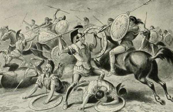Taktyka ta po raz pierwszy zastosowana została w bitwie pod Leuktrami w 371 roku p.n.e. Tebańskie wojsko pokonało wtedy Spartan pomimo przewagi liczebnej tych drugich.