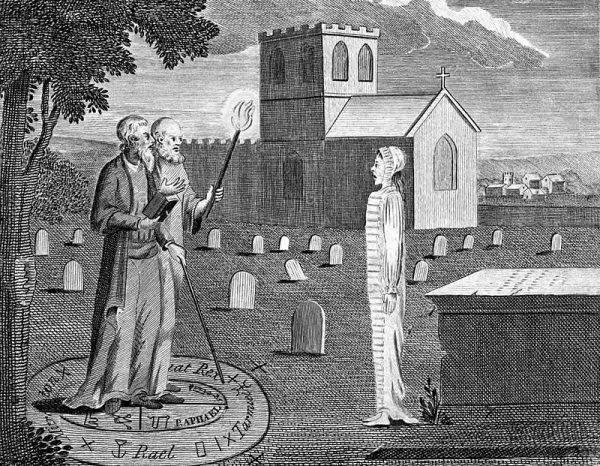 """O ile jednak Dee pozostał w głębi duszy uczonym i uczciwym poszukiwaczem prawdy, to jego pomocnik Edward Kelley (1555–1595), aptekarz-alchemik, był typowym spryciarzem i oszustem, """"złym duchem"""""""