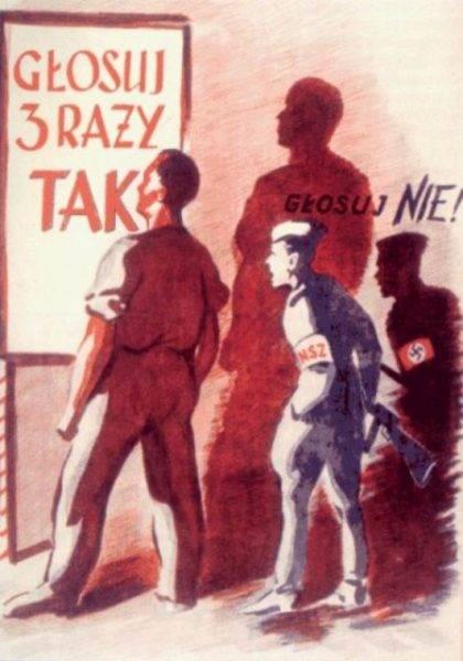 Plakat propagandowy z roku 1946 – Referendum 3 x TAK. Za czytającym, żołnierz NSZ, przedstawiony jako kolaborant hitlerowski, namawiający do głosowania na NIE