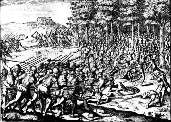 Za obietnicę żołdu w wysokości 280 pesos wyjechała do Chile, by brać udział w walkach przeciwko wojowniczemu plemieniu Araukanów.