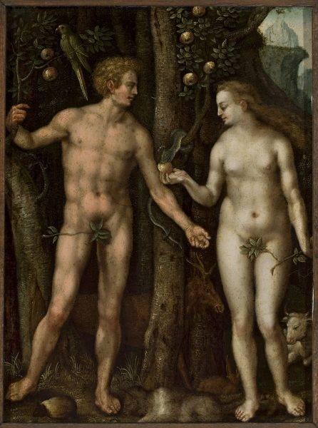 Popularne było przedstawianie Adama i Ewy (często z listkami figowymi zasłaniającymi strategiczne miejsca).