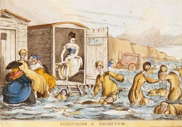 Choć w Wielkiej Brytanii do połowy XIX wieku nie było oficjalnego zakazu nagich kąpieli, to każde miasto mogło ustanawiać swoje własne prawa, więc w większości miejsc należało wchodzić do wody w odpowiednim odzieniu – kobiety w długich sukniach